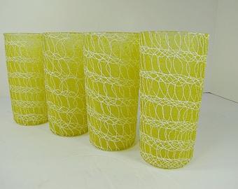 Vintage SPAGHETTI STRING TUMBLERS Set/4 Color Craft Glasses Retro Barware McM Cocktails