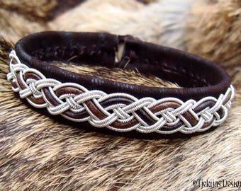 Sami Bracelet NIFLHEIM Lapland Viking Bracelet in Dark Brown Lambskin with Pewter Braid - Natural Handcrafted Nordic Elegance