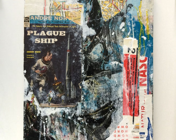 plague ship number 2 / original collage / home decor / art gift / science fiction art / space art