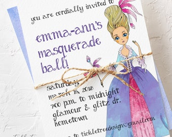 Birthday Party Invitations - It's a Masquerade Ball (Style 13580)