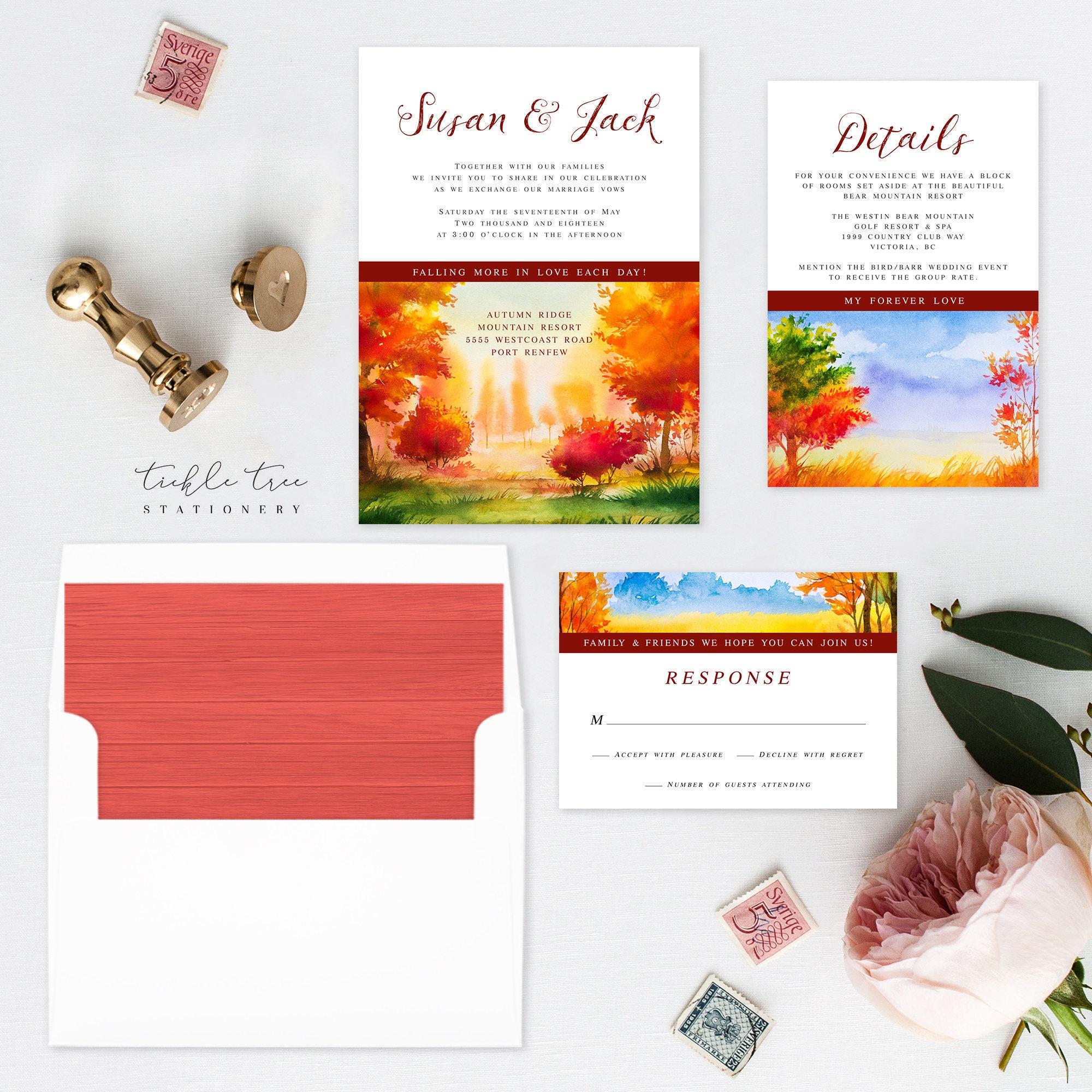 falling in love wedding invitations