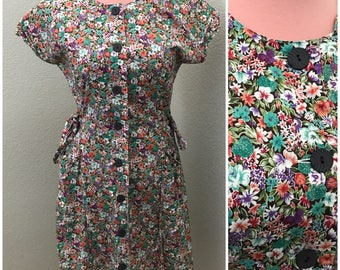 70s green and purple vintage floral day dress size M-L