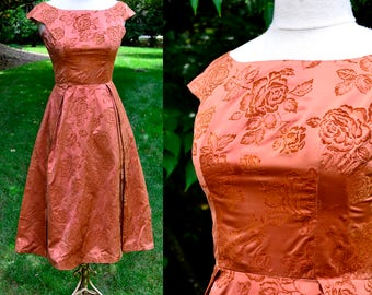 1950's Harry Keiser Copper Satin Party Dress / Vintage Dress with Velvet Roses / Size 0