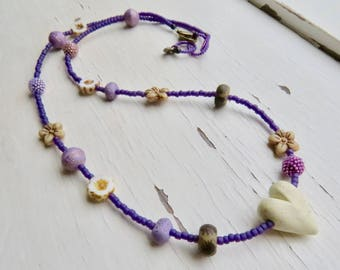 Shy Violet - handmade artisan bead necklace in violet purple and cream with handmade ceramic, polymer and handwoven glass beads - Songbead