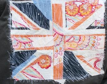 Gray Military Jacket-Union Jack-Patchwork Stitching-Junk Gypsy Clothing-Medium