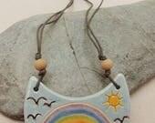 Ceramic Pottery Rainbow Crescent Pendant Necklace, Rainbow Jewelry, Spring Jewelry, Spiritual Jewelry, Hippy Jewelry, Colourful, Fresh
