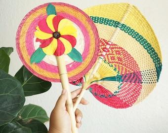Colorful Woven Straw Raffia Fan