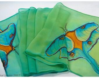 """Luna Moth Silk Scarf. 11x51"""". Hand-painted silk scarf. Painted silk scarf. Painted silk scarves~Hand painted silk scarf~Turquoise silk scarf"""