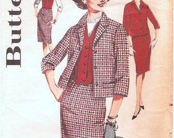 Fetching Vintage 1960s Butterick 2433 Three Piece Suit Coordinates, Jacket, Vest and Slim Skirt Sewing Pattern B32