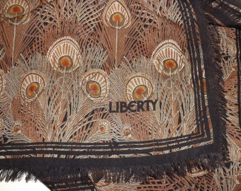 Vintage Liberty of London huge varuna fine wool shawl wrap large scarf peacock feather feather pattern black brown
