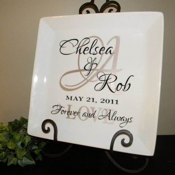 Monogrammed Wedding Gifts Couple: Personalized Wedding Gift Plate Anniversary Gift For Couple
