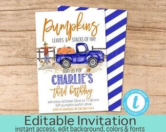 Fall Birthday Invitation, Pumpkin, Blue Truck, Pumpkin Patch, Blue Boy Fall Invite, Editable Birthday Invitation Template, Instant Download
