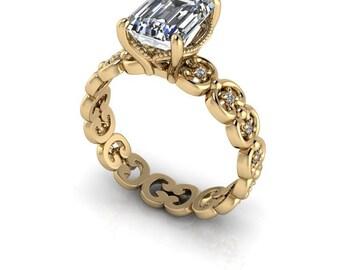 Moissanite Ring - Emerald Cut Engagement Ring - Diamond Engagement Ring Semi-Mount - Insieme™ Bridal Stackables