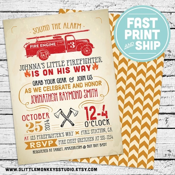 Printed Vintage Fireman Firefighter Baby Shower Invitations And