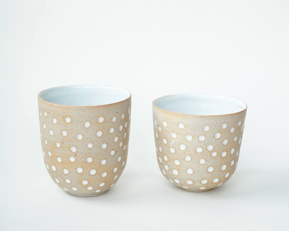 """set of 2 hand-carved ceramic cups / tumblers / mugs / raw clay with bright white glaze / dot pattern // """"GROOVE"""""""