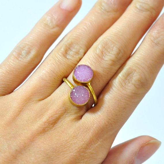 Pink Druzy Ring - Pink stone Ring - Adjustable Ring - Gemstone Ring - Gold Ring - Bezel Set Ring