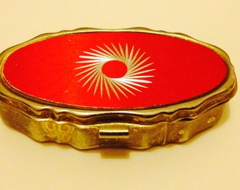 Vintage 1980s pill box, red & gold-coloured with retro pattern