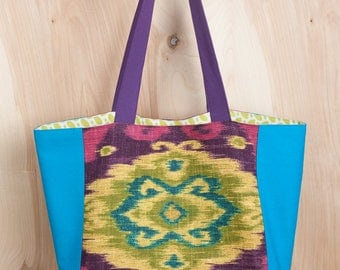 Irresistible Ikat Tote Bag- Lime Green Leaf lining- Linen and Cotton Tote- by beckyzimmdesign