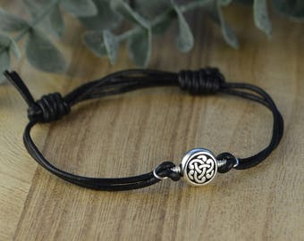 Celtic Knot Leather Adjustable Bracelet-  Silver Plated Celtic Knot Bead and Sterling Silver Filled Wire Wrapped Bracelet