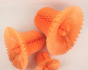 lot of 8 beistle honeycomb bells // peach
