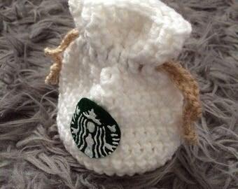 Lil Starbucks Crochet Drawstring Pouch