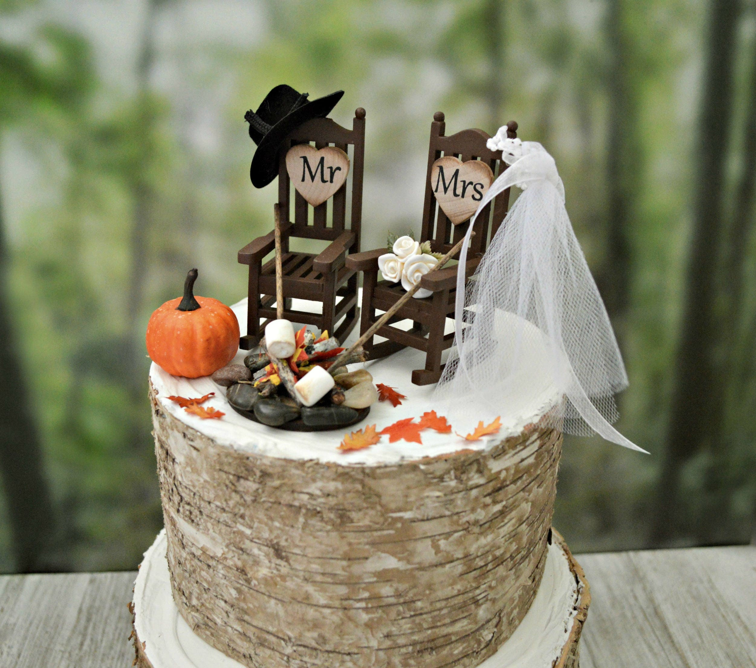 Fall Themed Wedding Cake Topper Country Pumpkin Autumn