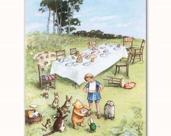 Winnie the Pooh Birthday Gift Boy, Girl Nursery Wall Art Print