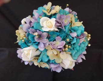 Turquoise, gold, chamapgne, lavender, bridal bouquet with ivory roses, hydrangea bride bouquet, artificial flower, gold pearl rhinestone