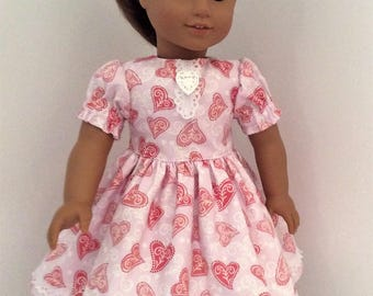 Valentine dress for American Girl dolls and other similar 18 inch dolls