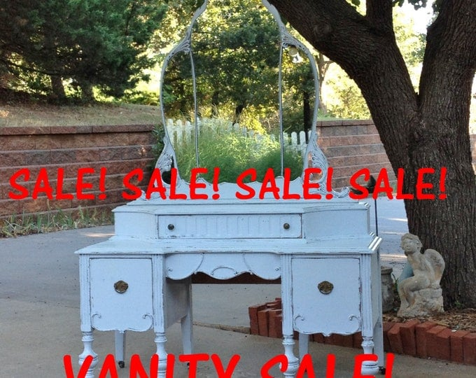 MAKEUP VANITY SALE / Bathroom Vanity / Painted Antique Furniture Farmhouse to Shabby Chic