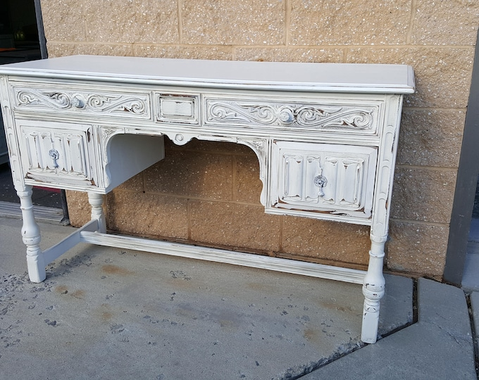 PICK UP ONLY Vintage carved desk, vanity, farmhouse shabby chic, creamy white, distressed, antique, rustic, make up table, dressing table