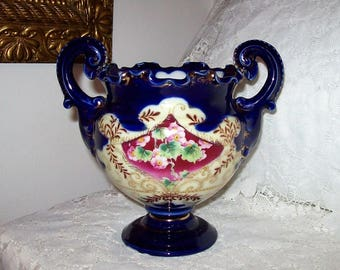 Antique Hand Painted Cobalt Blue Porcelain two Handled Vase w/ Pink Roses & Gold Trim Only 25 USD