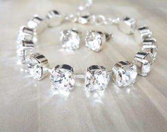Crystal bracelet and earrings set, Swarovski crystal jewelry set, Brides crystal jewelry set,Tennis bracelet,Bridesmaids jewelry set, SOPHIA