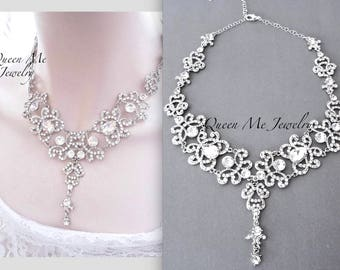 Crystal bib necklace, Crystal collar necklace, Crystal wedding necklace, Crystal statement necklace, Crystal necklace, ~ ANGELINA