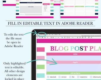 Blog Planner Printable, Social Media Planner, Blog Planner Kit, Printable Blogging Planner, Blog Organizer, Blogger Planner, Letter Size, A4