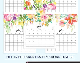 2018 Calendar Printable, 2018 Desktop Calendar, Printable Desk Calendar, 2018 Year Calendar, 2018 Calendar Printable, Kitchen Calendar