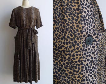 15% SALE (Code In Shop) - Vintage 80's Leopard Print Day Dress With Pockets & Scarf Tie S M L