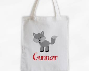 Personalized Wolf Canvas Tote Bag - Forest Animal Custom Travel Overnight Bag for Boys or Girls - Reusable Tote (3042)