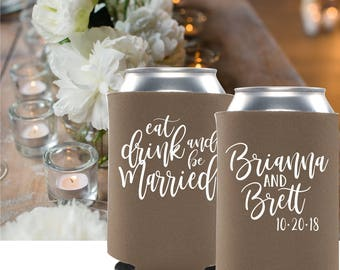 Eat Drink and be Married Can Coolers | Wedding Can Coolies | Save the Date Props | Save the Date Wedding Invites