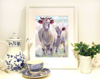 Cow Painting, Cow Art Print, Nursery Art, Mama & Calf- Cow Wall Art -Cow Wall Decor - Fun Cow Print 8 x 10 by Jemmas Gems