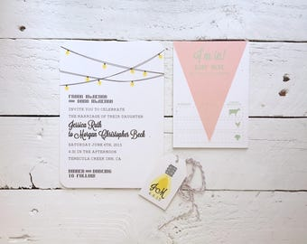 DEPOSIT Romantic Whimsical String Lights and Pennant Flags, Personalized Wedding Invitation, Wedding Suite, Invitation Stationery