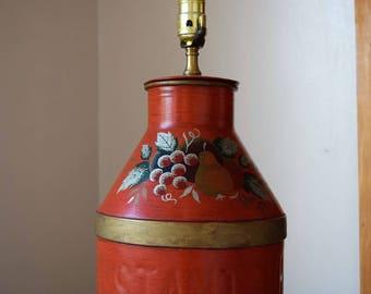 salvation armani vintage milk can lamp - insta whip can lamp - hand painted can lamp - vintage table lamp - vintage lighting - farm decor