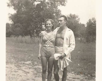 """Vintage Snapshot """"Exercise Pays Off"""" Handsome Man Pretty Woman  Swimsuits Found Vernacular Photo"""
