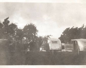Vintage Snapshot Road Trip Travel Trailer Park Airstream Mobile Home Found Vernacular Photo