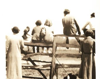 "Vintage Snapshot ""Horse Show At The Corral"" Onlooker's Backs To Camera Horseback Riding Dressage Little Puppy Dog Found Vernacular Photo"