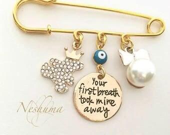 Evil Eye Baby Pin, Baby Boy Gift, Personalized Baby, Stroller Pin, Goog Luck Baby Pin, Newborn Boy Gift  Baby Shower Gift