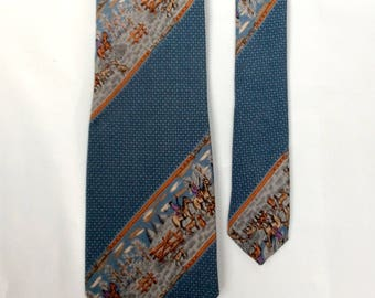 vintage 1980s silk tie Blue Tie Horses and The Hunt and Hounds motif beautiful soft textured silk Striped Narrow Skinny necktie