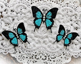 Reneabouquets Butterfly Set -Dark Teal Glitter Glass Butterflies Body Accent Choice Pearl Or Crystal
