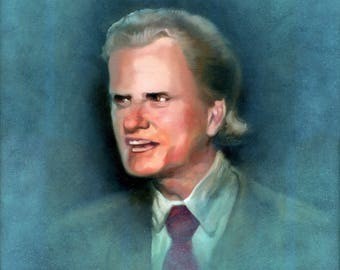 Canvas Print / Young Billy Graham With Tiny Microphone Pancake