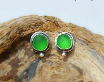 Hawaiian Small Emerald Green Beach Glass Set in Sterling Silver Handcrafted Bezel set Earrings Studs